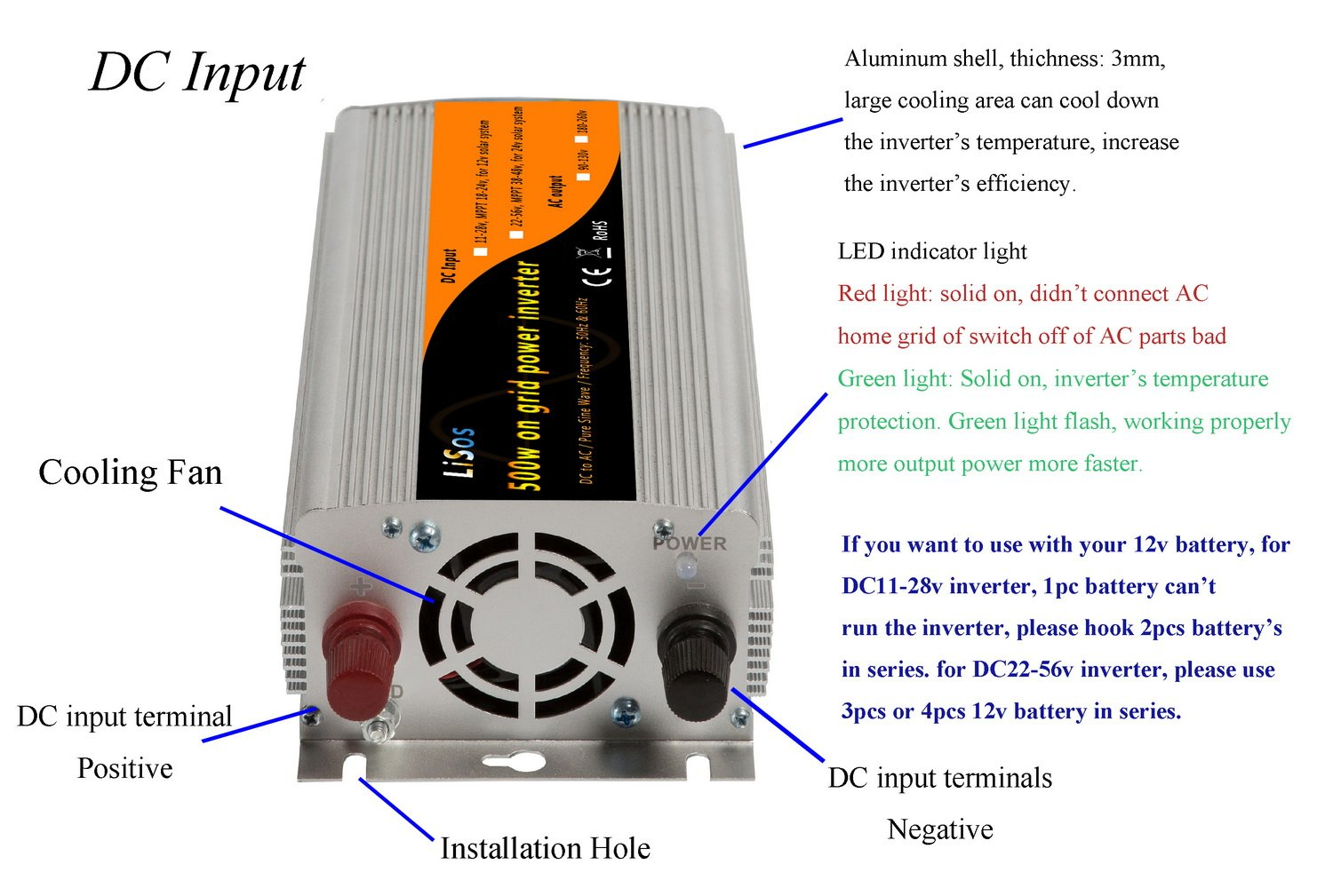 500w Grid Tie Pure Sine Wave Power Inverter Generator DC22