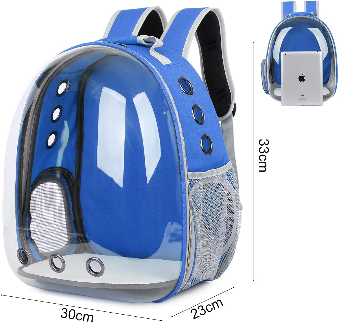Mochila con c/ápsula de Burbujas para Exteriores port/átil Azul Bolsa Espacial Transpirable Transparente para Mascotas YiYa Bolsa de Transporte para Gatos para Perros