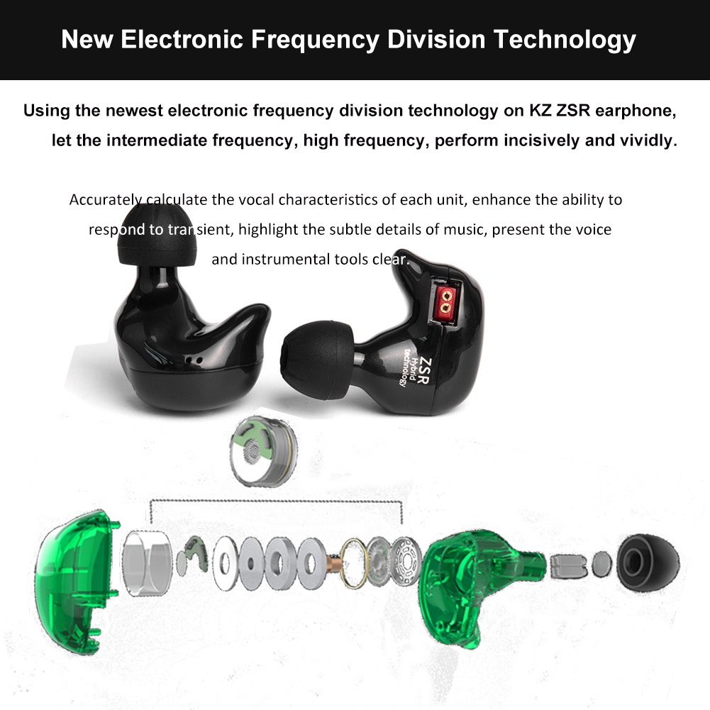 KZ ZSR in-Ear Headphones 1 DD 2 BA Earphone HiFi Stereo Deep Bass Earbuds with Detachable Cable Noise Isolating Headset with Hybrid Driver for Running, Jogging, Walking Black Without Mic