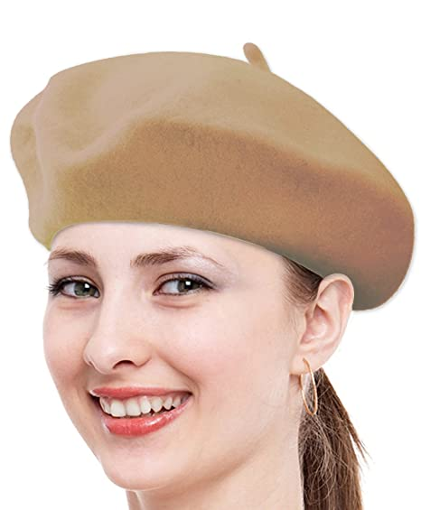 2a87f32d2f587 Classic Solid Color Wool French Beret (Tan) at Amazon Women s Clothing store