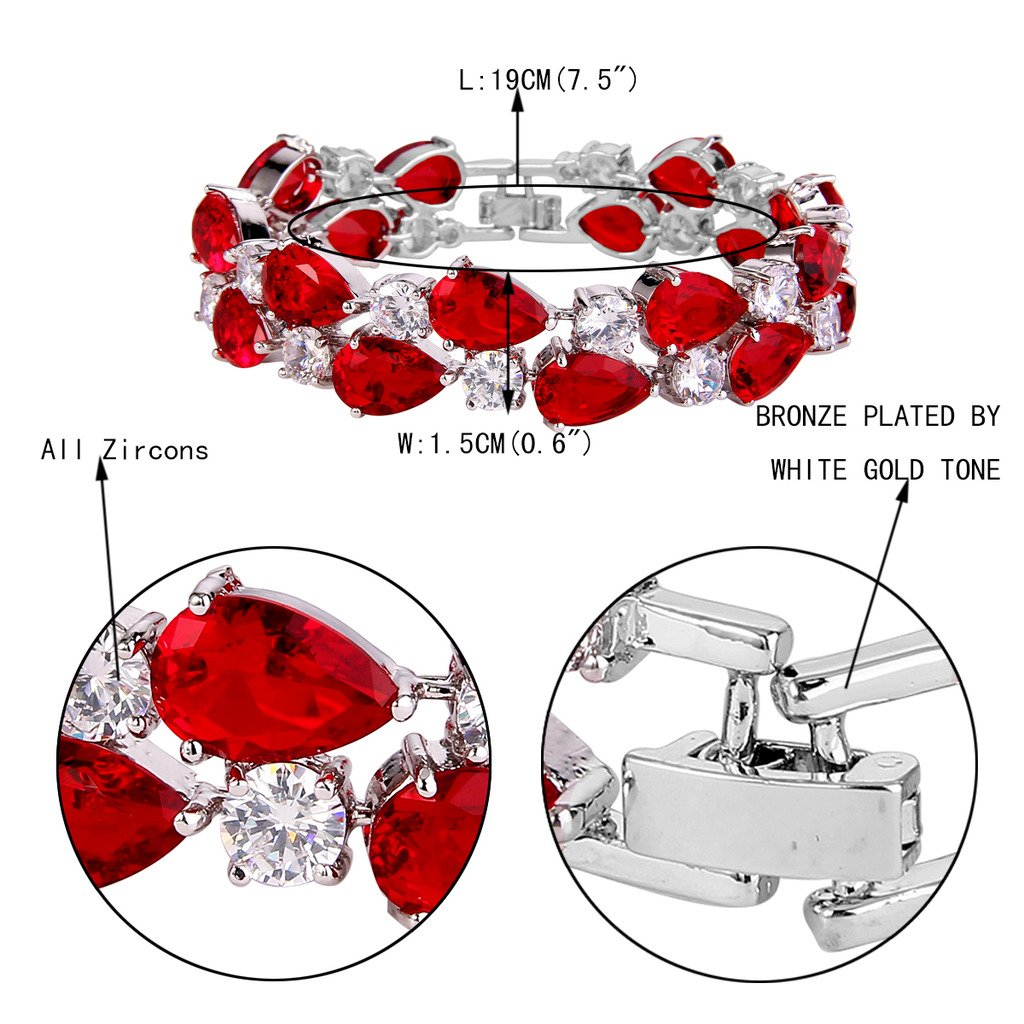 EVER FAITH Women's Prong Cubic Zirconia Vintage Style Dual Layer Tear Drop Bracelet Red Silver-Tone by EVER FAITH (Image #4)