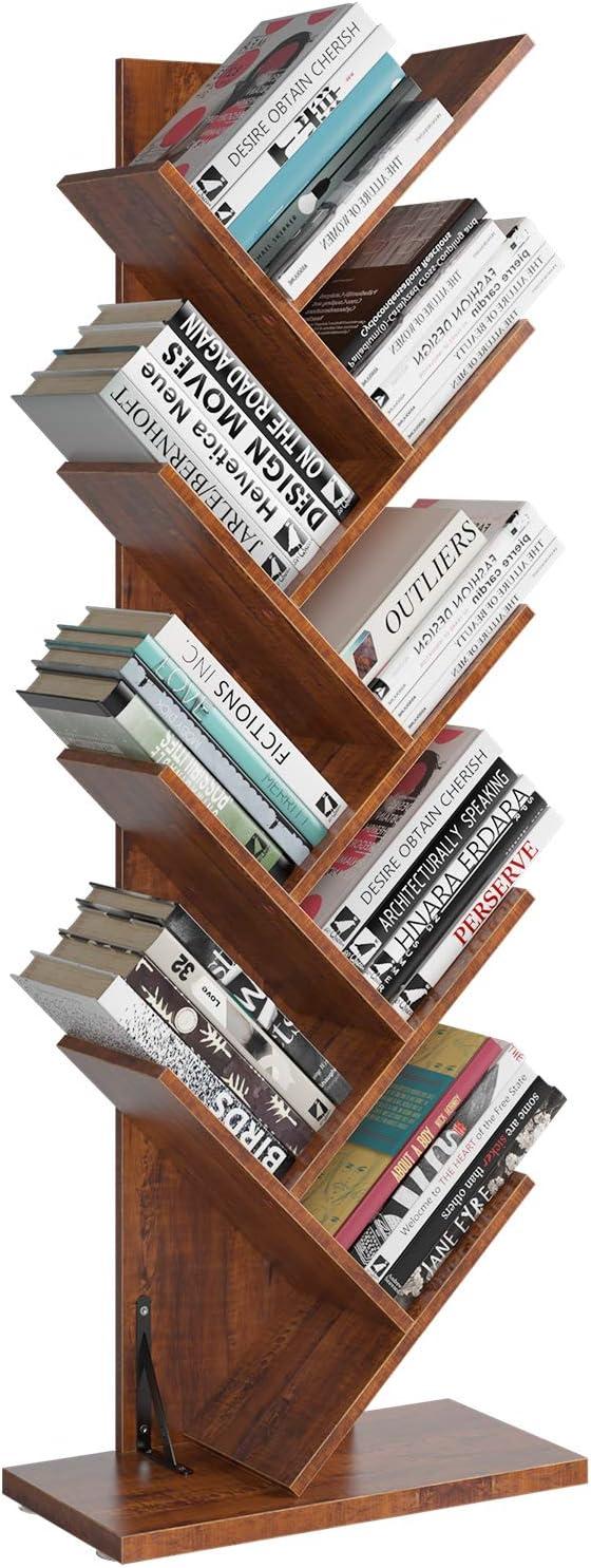 Homfa Tree Bookshelf, 9-Shelf Bookcase Rack, Free Standing Book Storage Organizer, Books/CDs/Albums/Files Holder in Living Room Home Office, Walnut(Large)