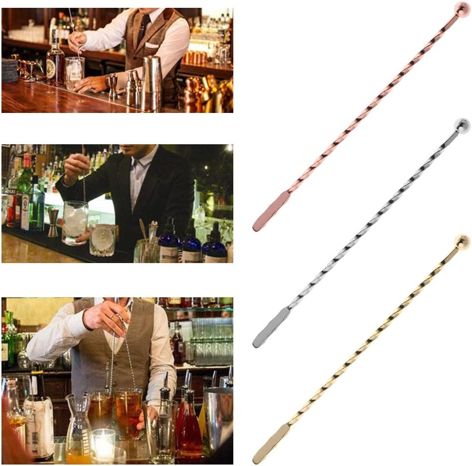 Stainless Steel Muddler Threaded Swizzle Stick Coffee Cocktail Stirring Bar Tool
