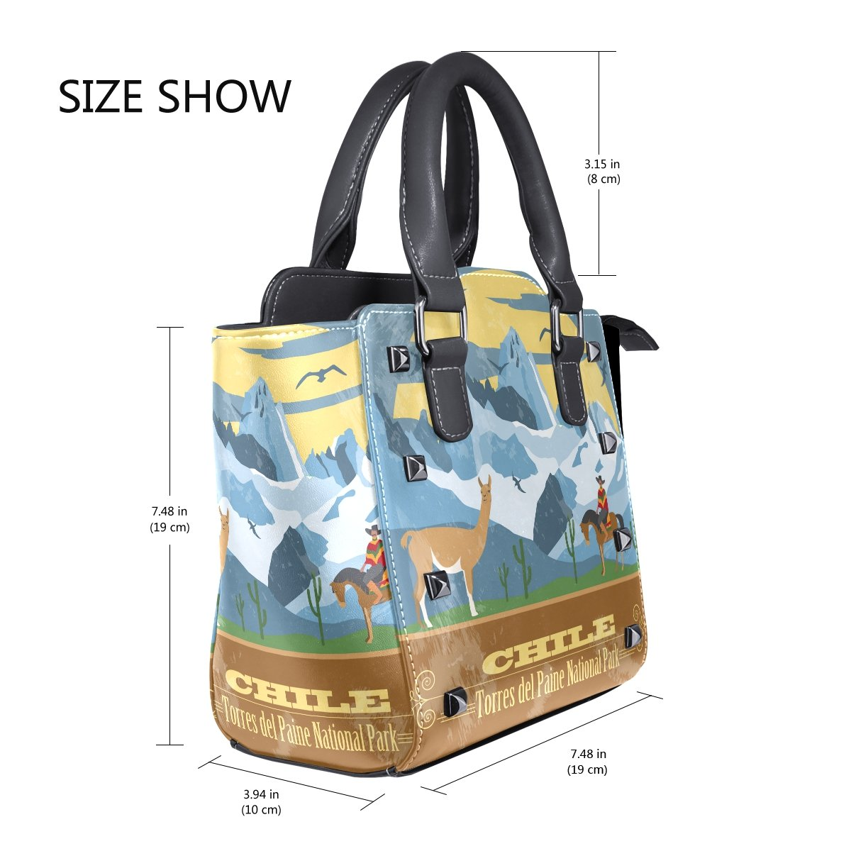 Amazon.com  Sunlome Retro Chile Landmarks Cowboy Llama Pattern Handbags  Women s PU Leather Top-Handle Shoulder Bags  Shoes 47283cbcbe