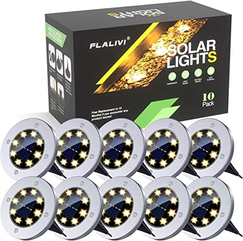 Solar Ground Lights, 8 LED Solar Disk Lights Outdoor Waterproof for Garden Yard Patio Pathway Lawn Driveway Walkway- Warm White 10 Pack
