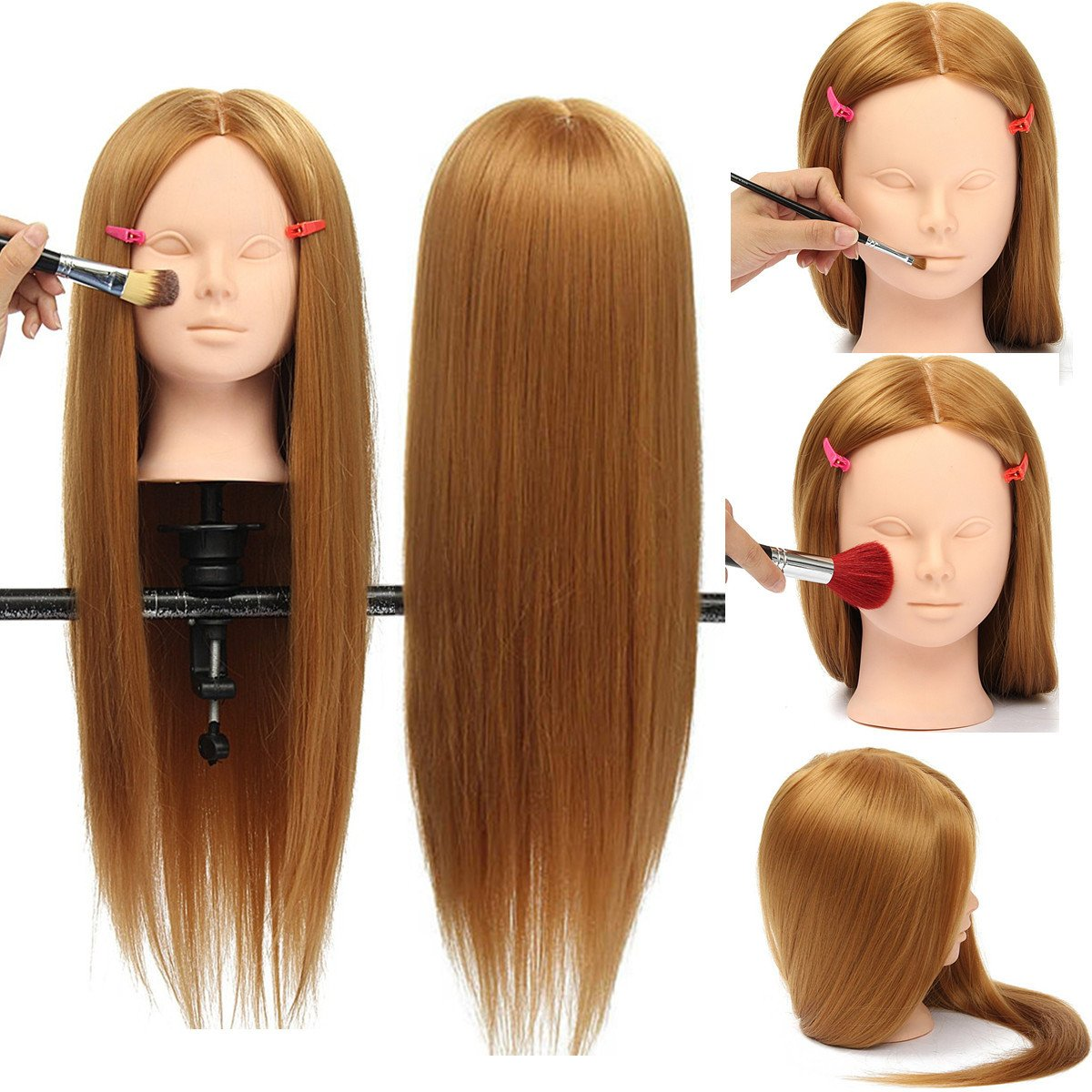 Health & Beauty - Hair Styling Tools - 26' Long Hair Training Mannequin Head Model Hairdressing Makeup Practice with Clamp Holder Isali