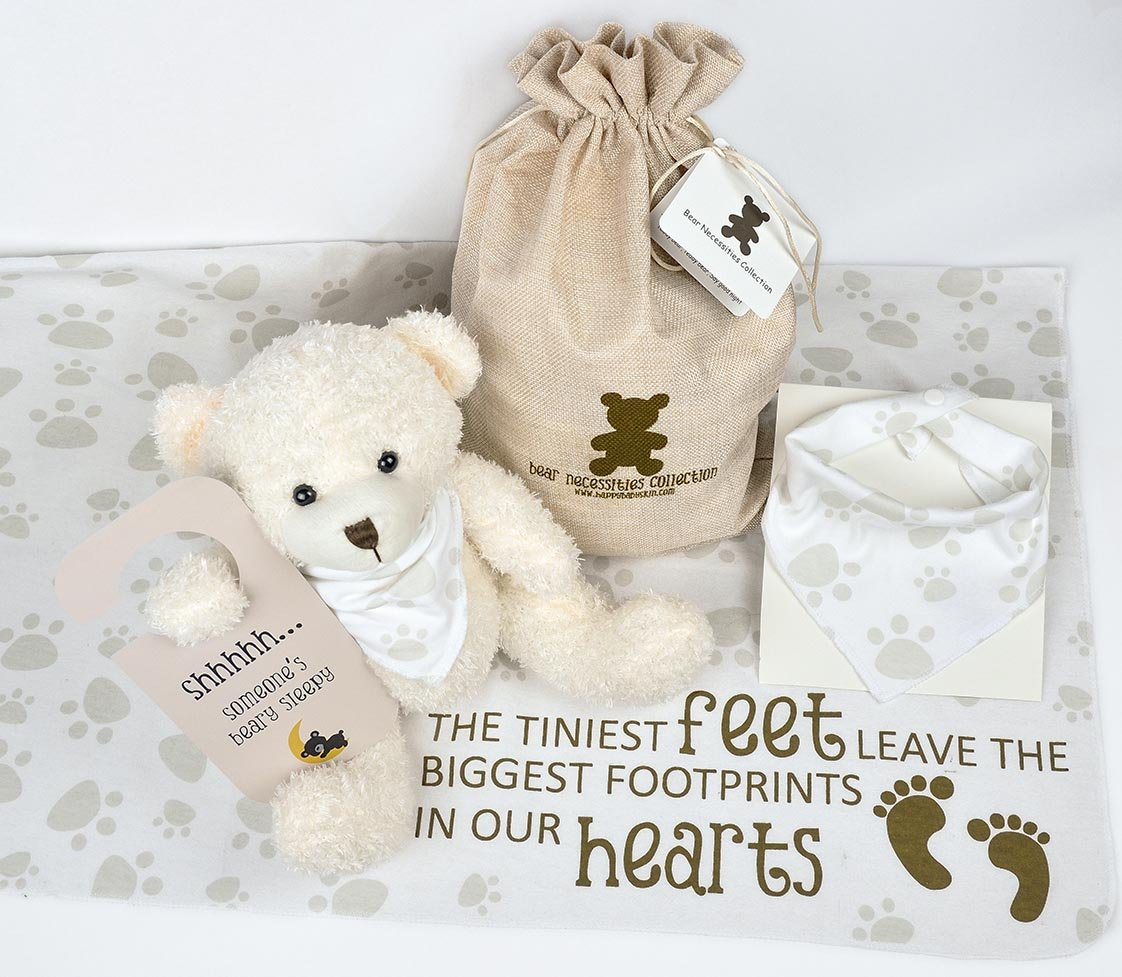 Baby Gift Set with Teddy Bear, Baby Bandana Bib, Receiving Blanket, Baby's Door Sign, and Drawstring Bag - 6 piece from Happy Baby Skin