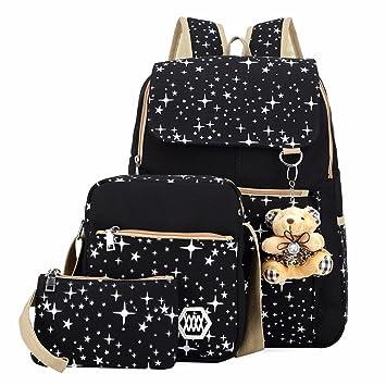 lèves millésime toile sac à dos + sac à bandoulière + bourse 3pcs loisir Cartable Sac de voyage pour Femme Zuyr5V