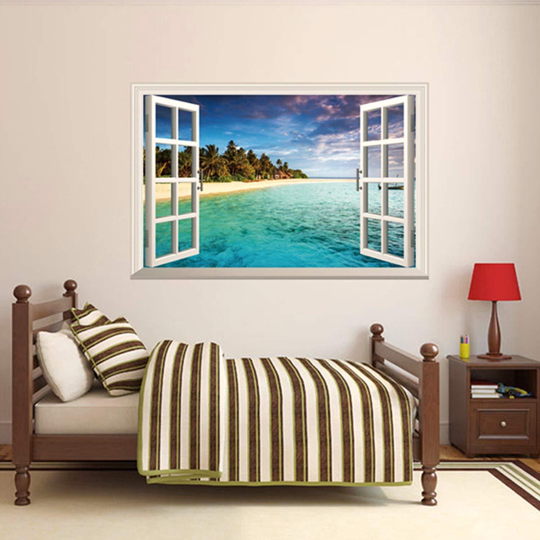 GoldenCart Beach Wallpaper-Like 3D Window Beach Wall Decal I 3D Wall Art I 3D Wall Stickers I 3D-Effect Beach Wall Mural I 3D Sticker for Wall I 3D Wall Decor I 3D Wall Murals I Vinyl (90cm X 60cm)