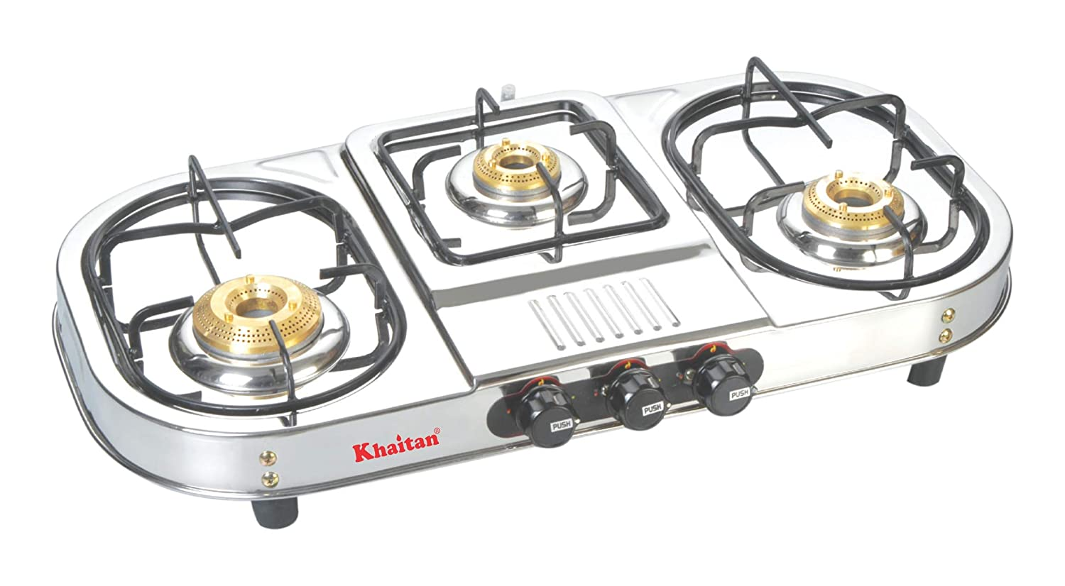 Khaitan 3 Burner Gas Stove Draw Double Decker Stainless Steel