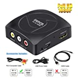 EASYCEL RCA (Composite/CVBS/AV) to HDMI Scaler Converter, RCA (Composite/CVBS/AV) Input to HDMI Output for PS2, N64, Wii, STB, VHS, VCR Camera, DVD(Co