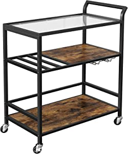 VASAGLE Bar Cart, Serving Cart on Wheels with Storage Shelf, Wine Glass and Bottle Holders, Glass Top, Industrial, Rustic Brown and Black ULRC086B01