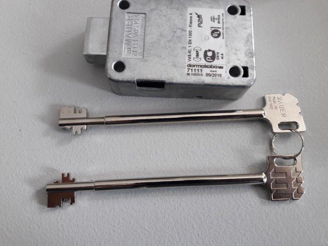 KABA Mauer 71111 VDS 1. Safe Lock/with 2 Keys 150mm