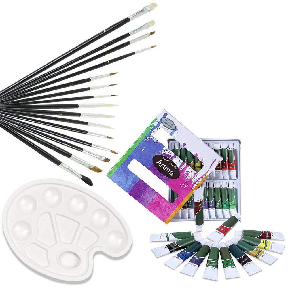 Artina Kit per pittura acrilica con 12 colori acrilici 1 set da 15 pennelli 1 tavolozza - per artisti pittori belle arti