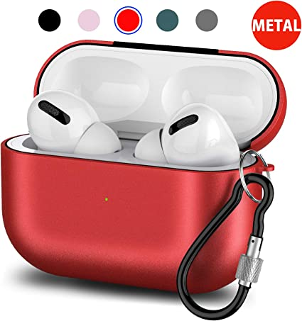 LED Light Visible Protective Case for Airpods Pro Charging Case,Airpods Pro Accessories Case with Keychain Transparent Case Cover Compatible with Apple Airpods Pro Grey