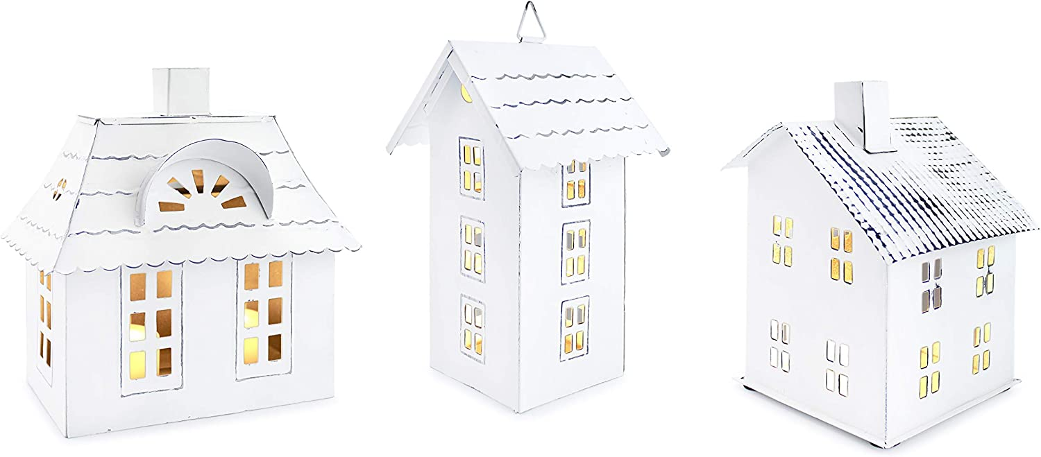 AuldHome Farmhouse Decor Tin Houses (Set of 3, White); Candle Lantern Decorative Holiday Christmas Village Display or Votive Holder