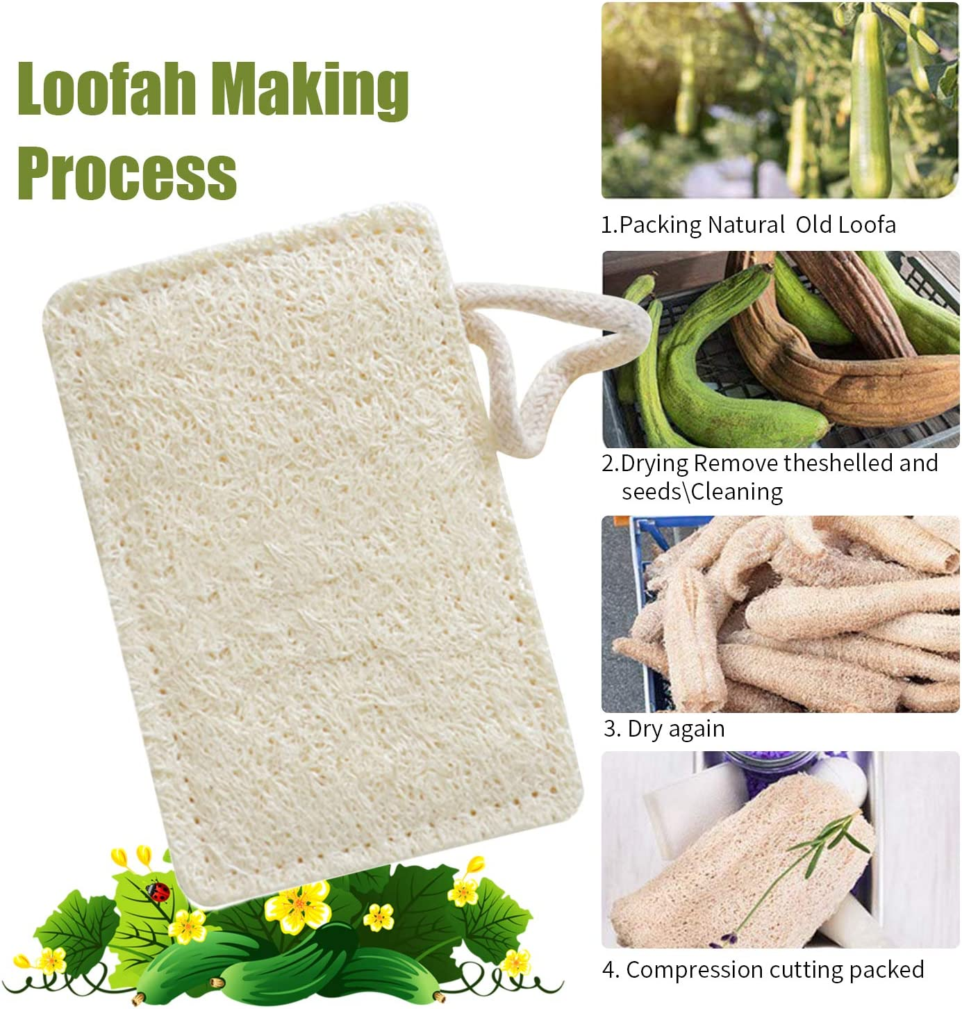 White Eco Washing Up Sponge Zero Waste| Plastic Free| 100/% Biodegradable Natural loofah Dishwashing Sponges Dish Scrubber for Kitchen Dish Cleaning