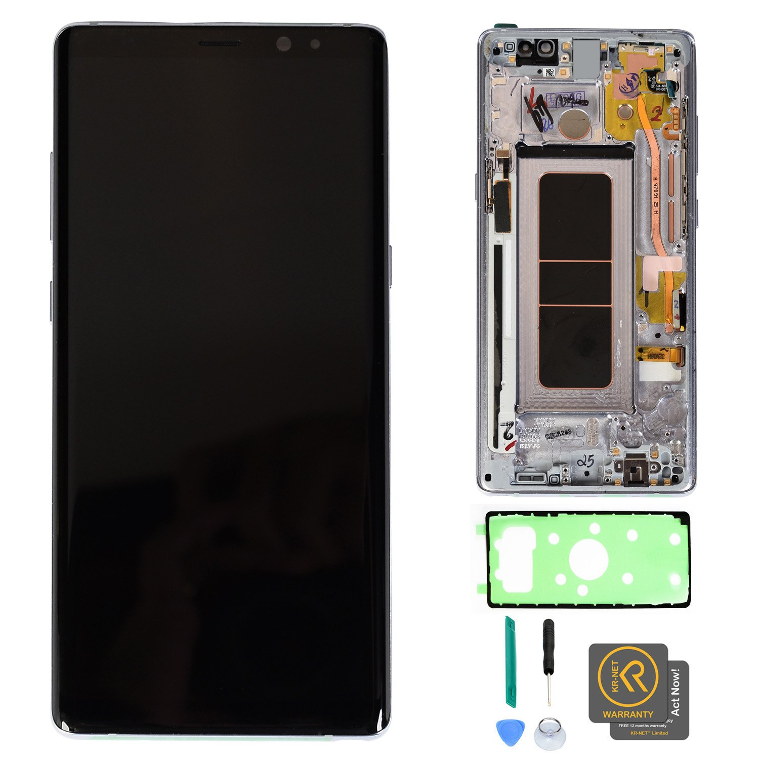 KR-NET [With Frame, Orchid Gray] AMOLED LCD Display Touch Screen Digitizer Replacement for Samsung Galaxy Note 8 N950U N950F N950W, with Tools and Adhesive