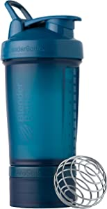 BlenderBottle Shaker Bottle with Pill Organizer Storage for Protein Powder, ProStak System, 22-Ounce, Ocean Blue