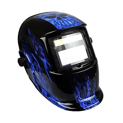 Instapark ADF Series GX-500S Solar Powered Auto Darkening Welding Helmet with Adjustable Shade Range #9 - #13 (Blue)