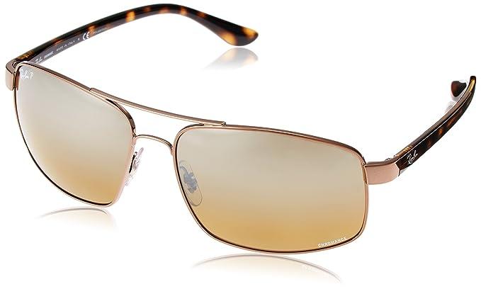 6f015355a0c8 Ray-Ban Men's 0rb3604ch Polarized Iridium Square Sunglasses Shiny Light  w/Brown MIR Grey