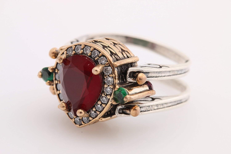 Turkish Handmade Jewelry Reversible Drop Shape Pear Cut Emerald Ruby Jade 925 Sterling Silver Ring Size
