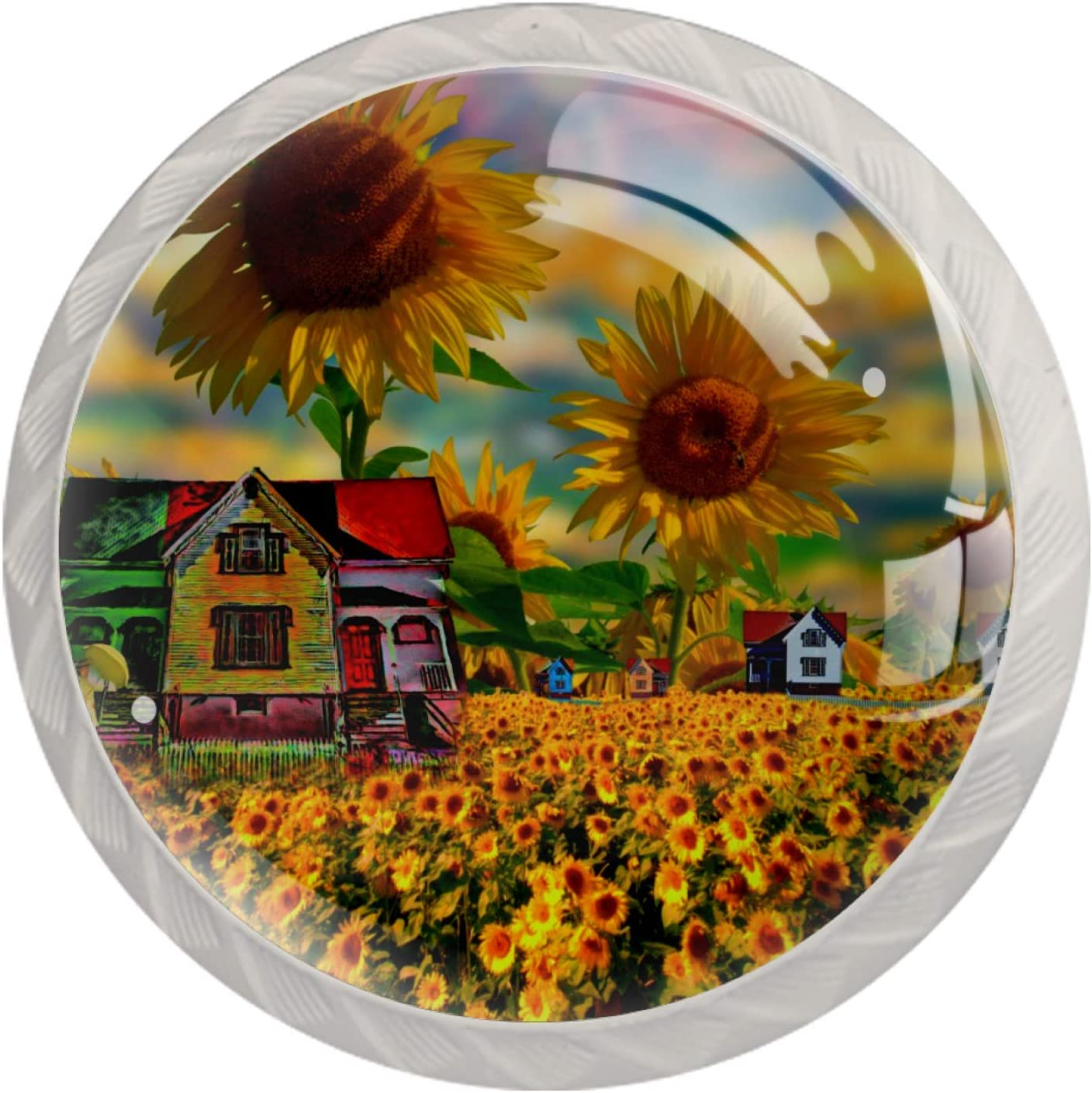 Sunflower Field Yellow Summer Flowes Drawer Pulls and Knobs for Home Office Bedroom Livingroom Bathroom with Screws (4Pack)