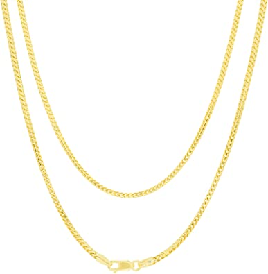 """14K Yellow Gold 1.8mm Franco Square Box Wheat Foxtail Pendant Necklace Chain 22/"""""""
