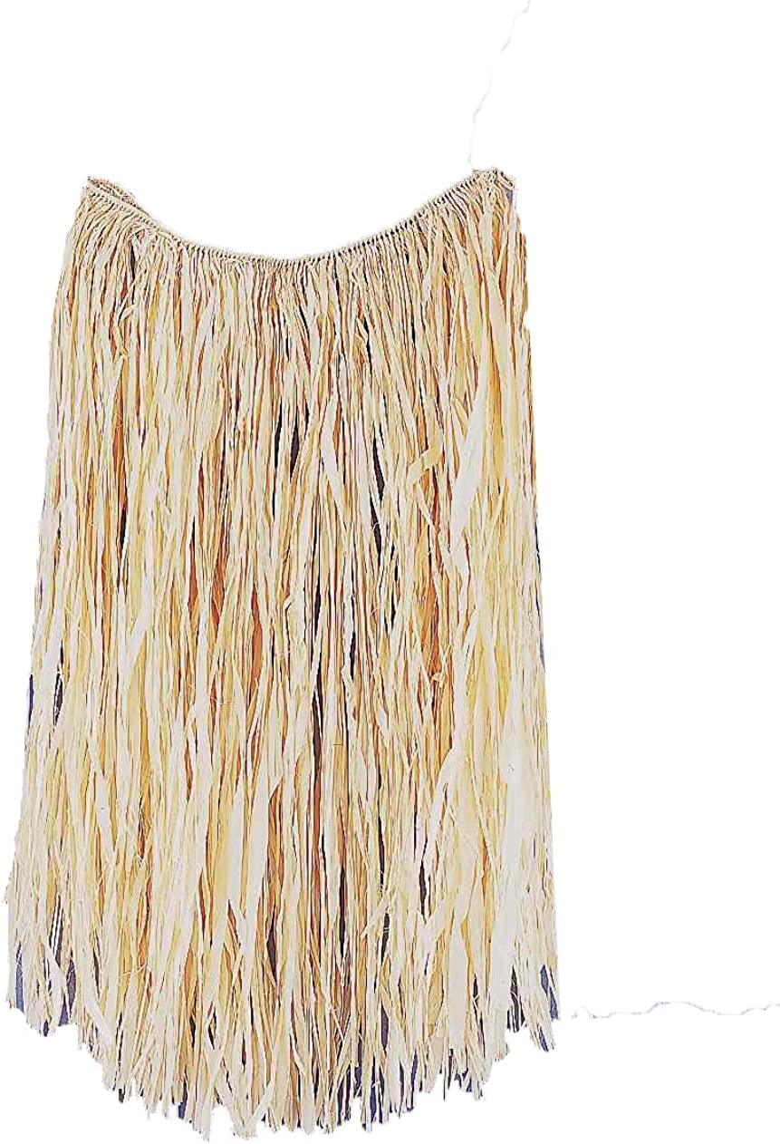 Women's Natural Grass Skirt, Beige, One Size: Clothing
