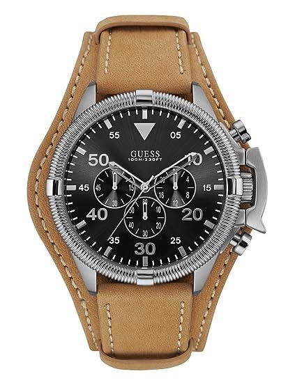 Guess Reloj Relojes Hombre Reloj cronógrafo w0480g4 Rover piel color marrón