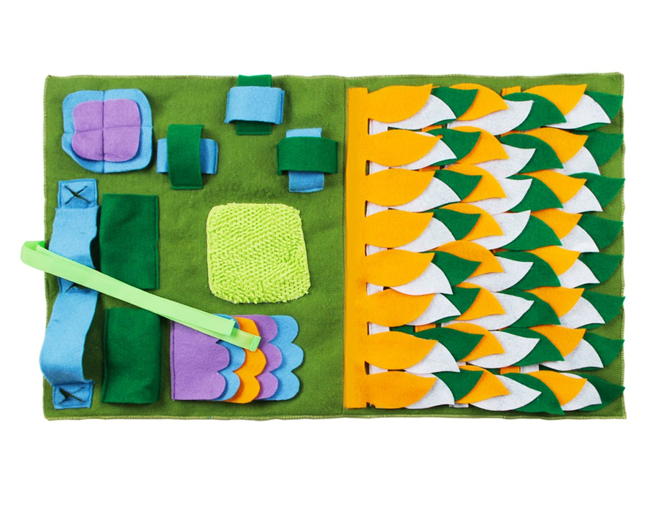 IFOYO Dog Feeding Mat, Dog Snuffle Mat Small Dog Training Pad Pet Nose Work Blanket Non Slip Pet Activity Mat for Foraging Skill, Stress Release, (S, Green, 17.7x19.7in / 45x50cm)