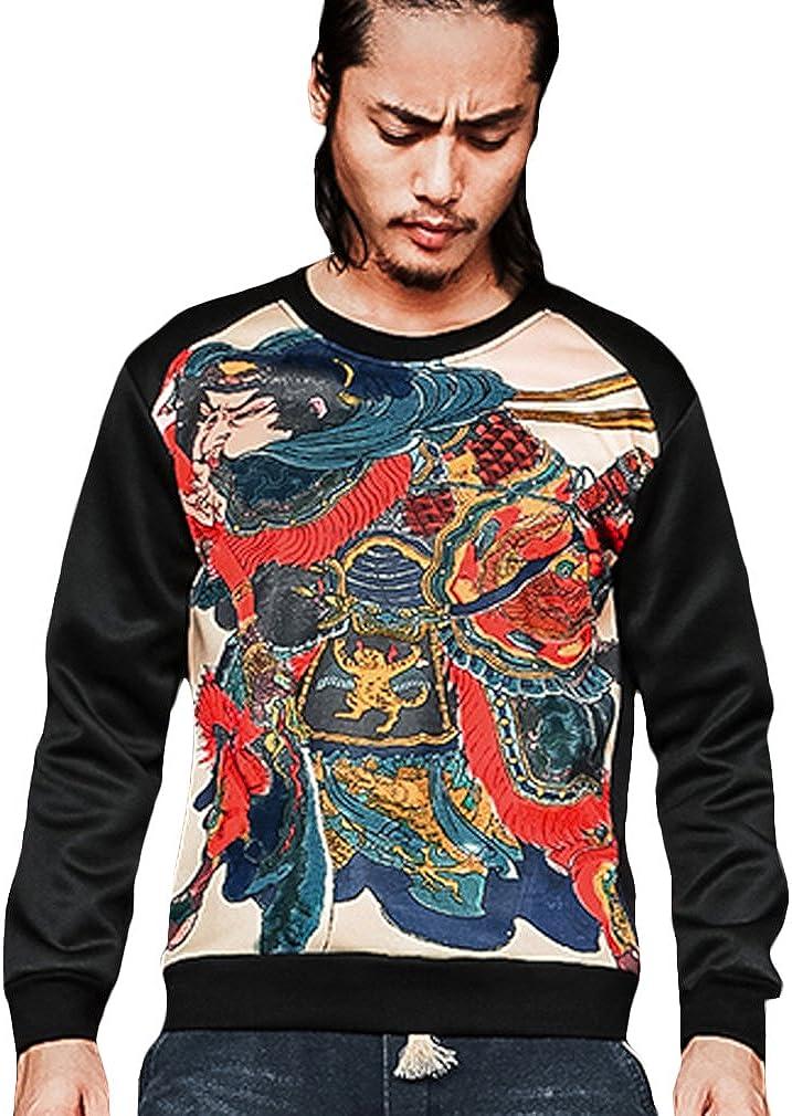 Honghu Mens Retro Chinese Warrior Printing Round Neck Large Size Cotton Shirt
