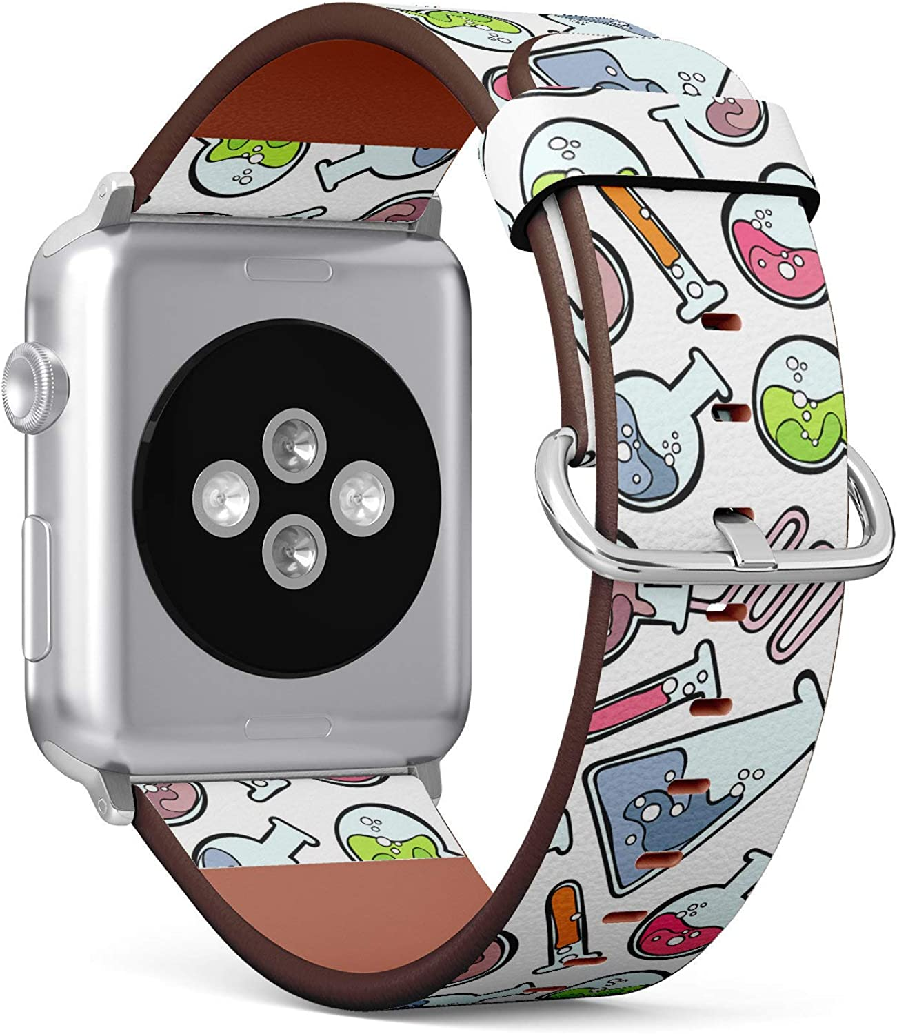 (Chemical lab Test Tubes) Patterned Leather Wristband Strap Compatible with Apple Watch Series 4/3/2/1 gen,Replacement of iWatch 38mm / 40mm Bands