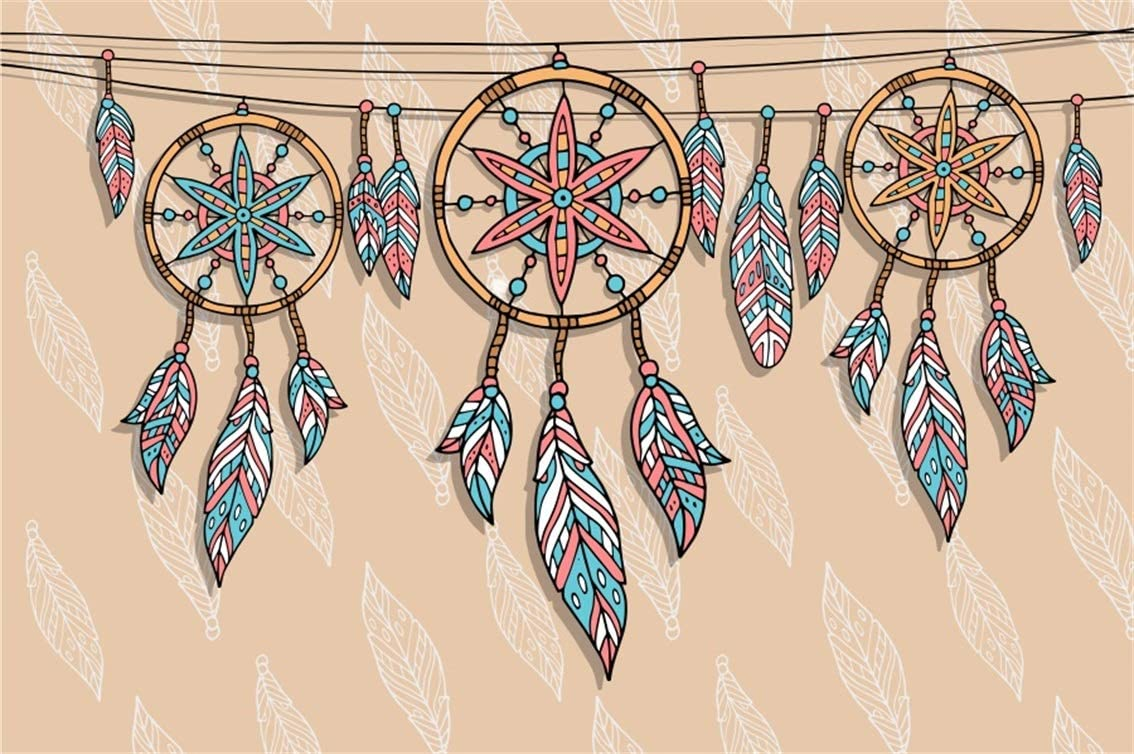 6x6FT Vinyl Photography Backdrop,Feather,Ornate Dreamcatcher Photo Background for Photo Booth Studio Props