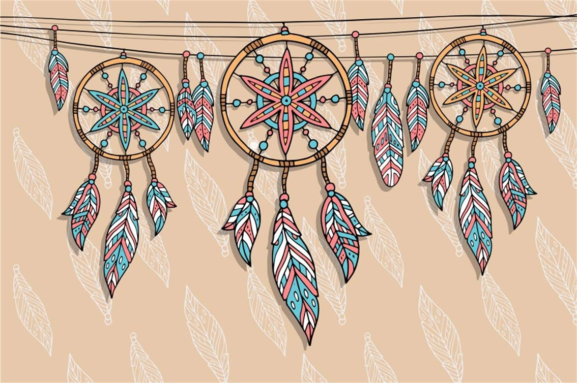Aofoto 7x5ft Dream Catcher Background Abstract Dreamcatcher Interior Decoration Photography Backdrop Good Dream Sleeping Feather Traditional Handmade