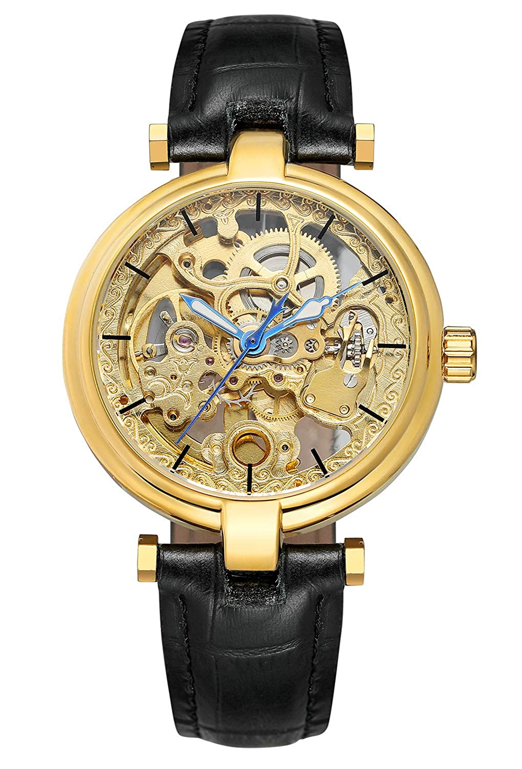 Carrie Hughes Men s Luxury Gold Skeleton Automatic Mechanical Stainless Steel Leather Watch CH8160G