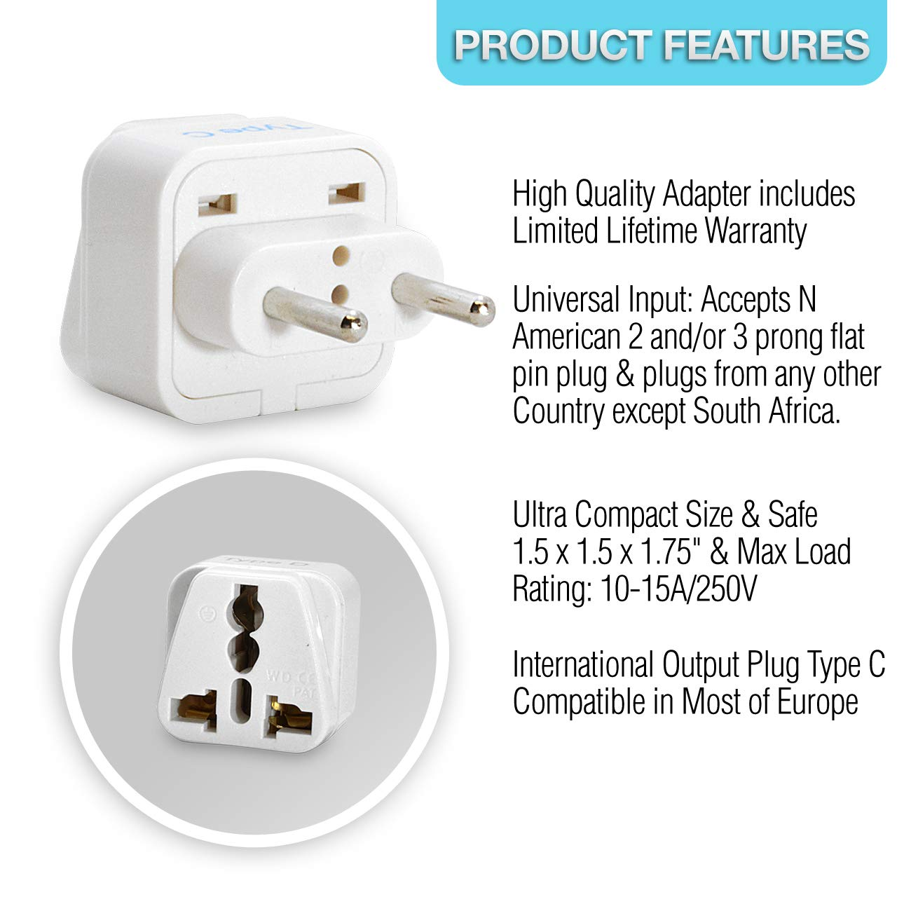 Ceptics Europe Travel Plug Adapter Type C For Most 3 Prong Male 240 Volt Wiring Diagram European Countries Pack Grounded Universal Gp 9c 3pk Home Audio Theater