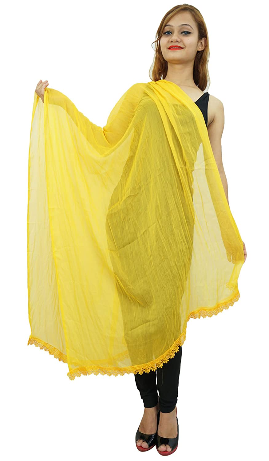 Indian Dupatta Neck Wrap Chiffon Blend Long Stole Chunni Tassel Scarf Throw ibaexports