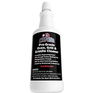 Commercial Grill and Oven Cleaner 32 Oz Heavy Duty Concentrate. Fast-Acting Degreaser Solution Removes Carbon, Grime, Burnt Food and Oil for Griddles, Fryer Baskets and Kitchen Cooking Surfaces.