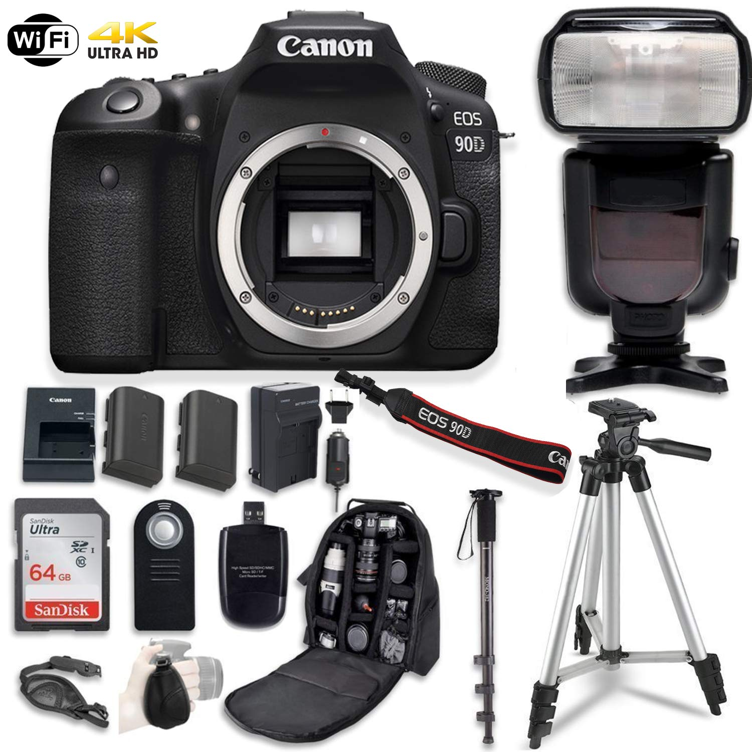 Canon EOS 90D Digital SLR Camera Bundle (Body Only) with Professional Accessory Bundle (14 Items) by Canon