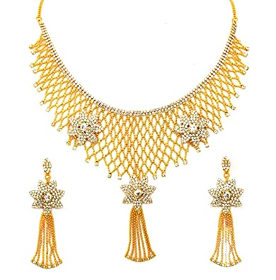 9c2d8edd107c4 Eshopitude Indian Traditional Design Full Neck Gold Plated Necklace Set For  Women & Girls