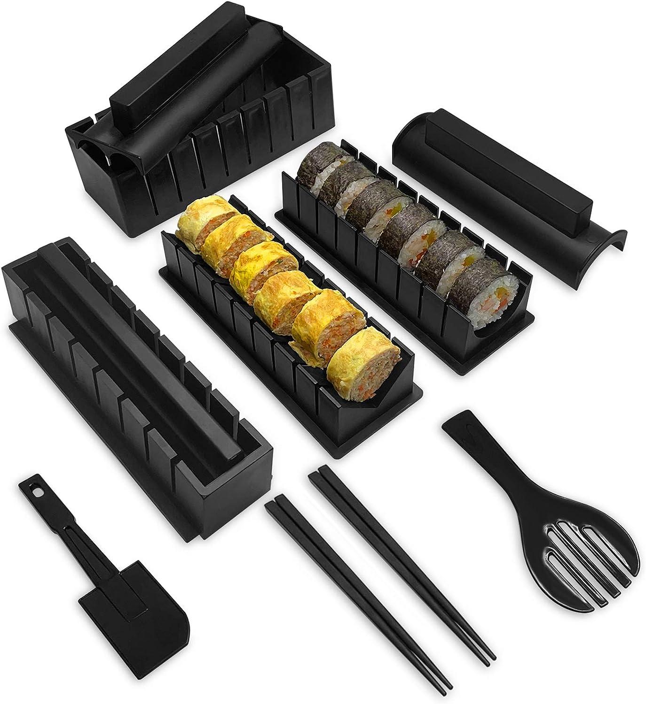 Sushi Making Kit, YiiMO 12pcs Roll Maker Set Food-Grade Plastic Tool, 4 Molds and Fork Spatula Chopsticks for Home DIY Beginners