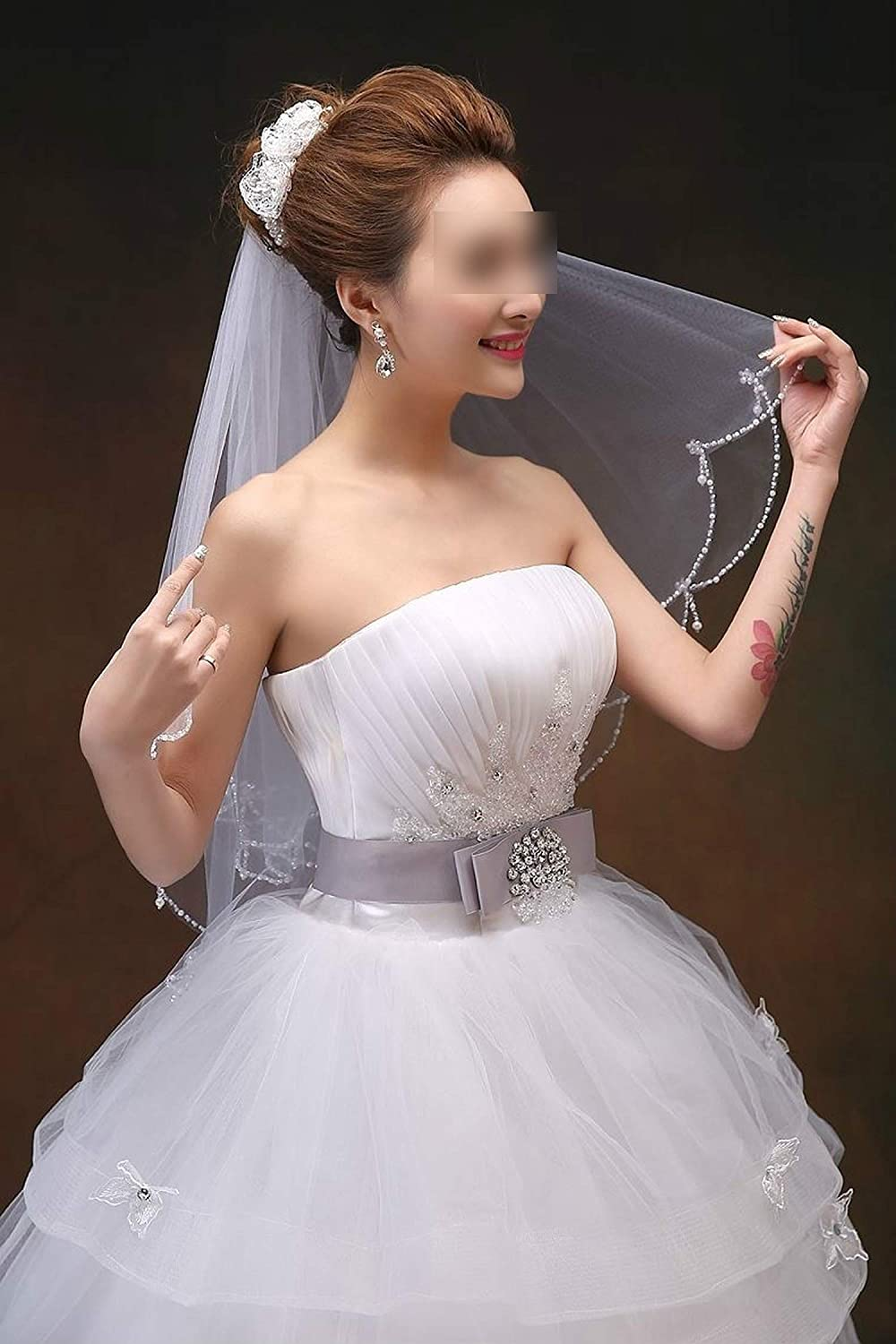 White//Ivory Wedding Veil Velo Voile Mariage 1.5 M Bridal Veil Wedding Vail,White,150cm