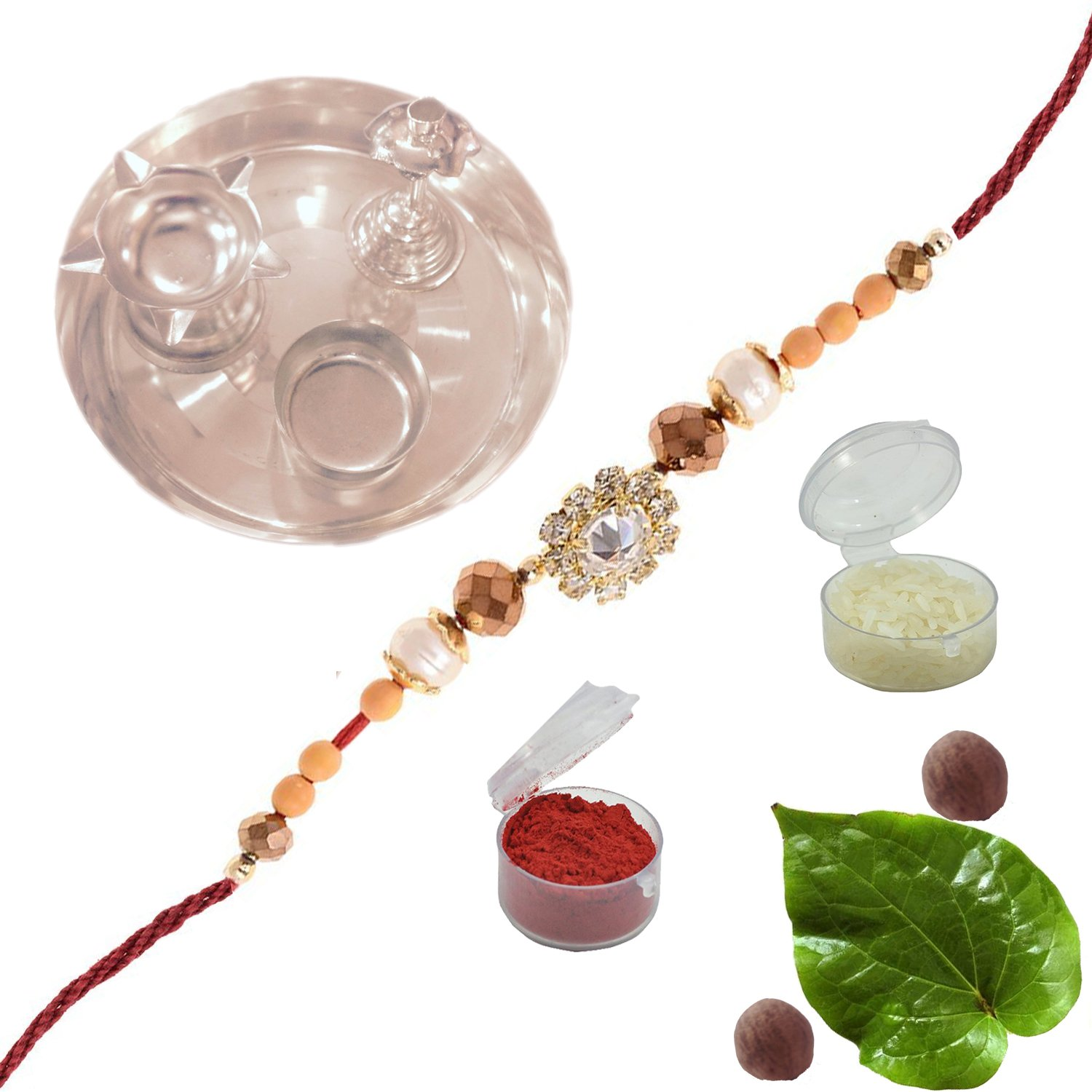 Amba Handicraft Multi-Coloured Silk Exclusive designer traditional ethnic attractive rich indian royal colorful beautiful sister brother lovely Rakhi Set india