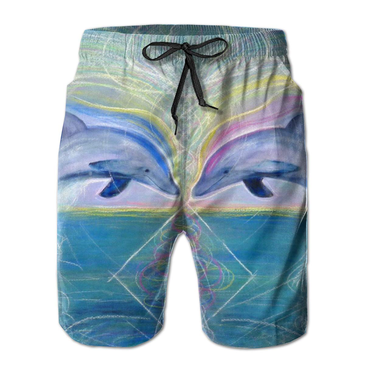 Mens Swim Trunks with Mesh Lining Pockets Kissing The Dolphins Rainbow Boys Polyester Board Shorts Swimwear