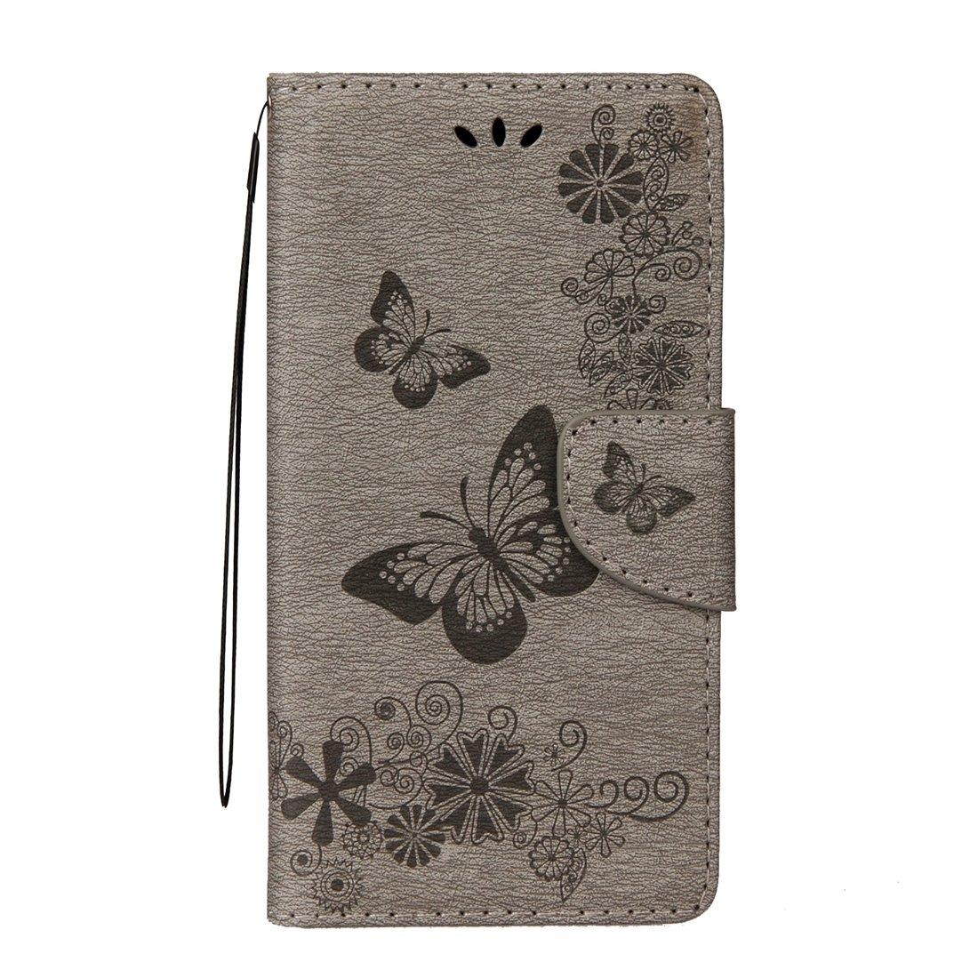 Xinanlongjb para Samsung Galaxy J7 Versi/ón de la UE 2017 Flores prensadas Patr/ón de Mariposa Funda de Cuero con Tapa Horizontal con Soporte y Ranuras para Tarjetas /& Monedero y cord/ón