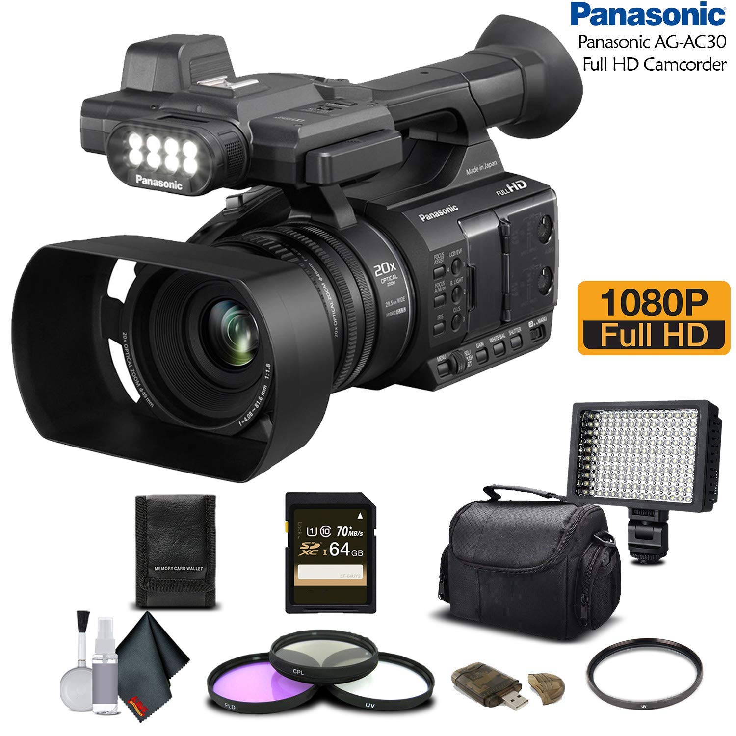 Panasonic AG-AC30 Full HD Camcorder (AG-AC30PJ) with 64GB Memory Card, LED Light, Case, Telephoto Lens, and More - Advanced Bundle by Panasonic