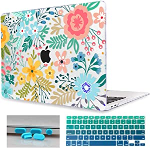 Mektron Laptop Case for MacBook Air 13.3 inch A1466/A1369 (2010-2017 Release), Garden Flowers Clear Print Hard Shell w/Keyboard Cover & Dust Plug