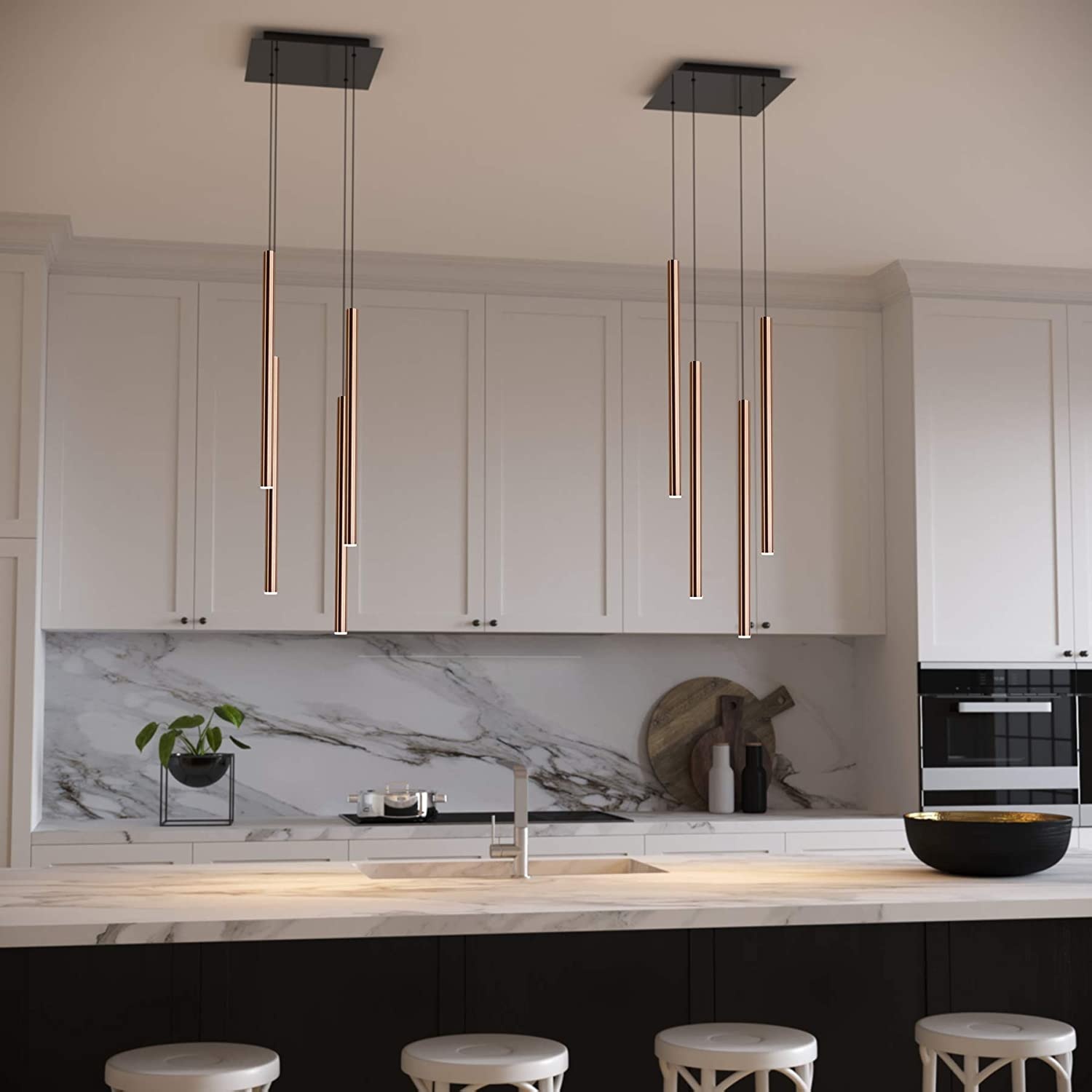 Cluster Pendants LED Hanging Light Fixture for Kitchen Island Bar Foyer CANALIS 3 Mini Pendant Lighting Copper Lamp Bulb Included Adjustable Wire Dimmable