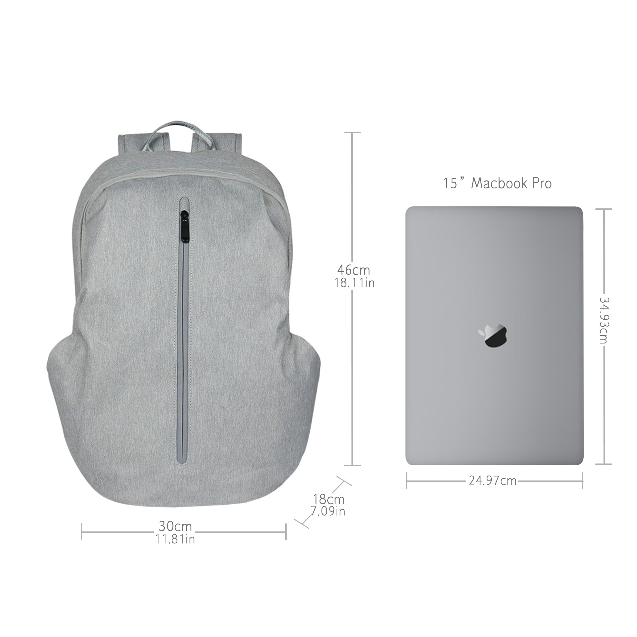 Tektalk Business Anti-theft Multifunctional Laptop Backpack, with USB Cable and Coded Lock, Durable & Lightweight, Suitable for Laptops up to 15.6 inches, for School / Travel / Work (Light Gray) by Tektalk (Image #3)